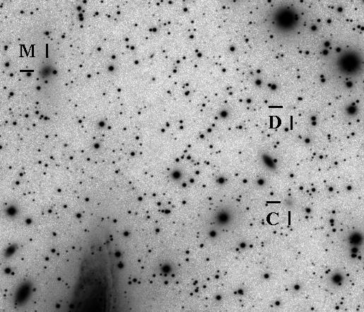 """Mit """"D"""" ist die bisher unbekannte Zwerggalaxie gekennzeichnet. Beim Zwerg """"M"""" erkennt man die Sternenstrröme Richtung NGC7331"""